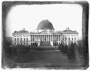 Daguerreotype attributed to John Plumbe, Jr. The earliest known photograph of the Capitol.
