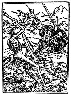 DANCE OF DEATH, 1538. 'Death and the Soldier.' Woodcut by Hans Holbein the Younger