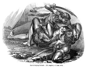 DAVID AND GOLIATH. David slaying the giant Goliath. Wood engraving, 19th century