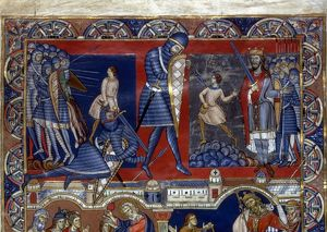 DAVID AND GOLIATH. Illumination from a late 12th century English Bible