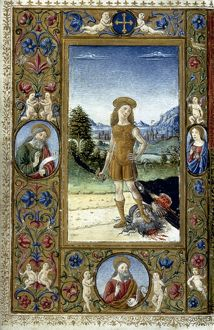 DAVID & GOLIATH. Miniature from an Italian Book of Hours, late 15th century