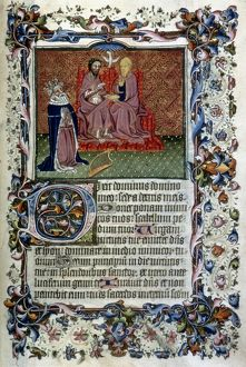 DAVID KNEELING Before the Trinity: illumination from an English Book of Hours, c1430-40