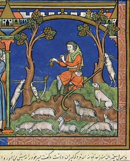 DAVID, THE YOUNG SHEPHERD. Playing his pipe and a bell (I Samuel xvi: 5-11): French