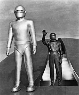 DAY THE EARTH STOOD STILL. The robot, Gort, in a scene from the film, 'The Day