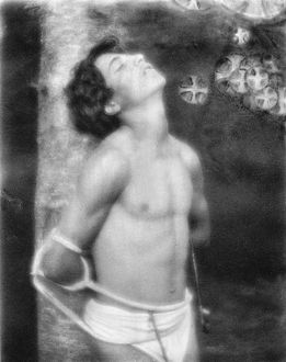 DAY: SAINT SEBASTIAN, c1906. Saint Sebastian tied to a tree with arrows in his stomach