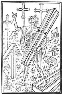 DEATH, 1496. Woodcut allegorical representation of Death from 'Le grant kalendrier
