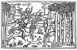 DEATH OF ABSALOM. Absalom is put to death by pursuing soldiers after being caught