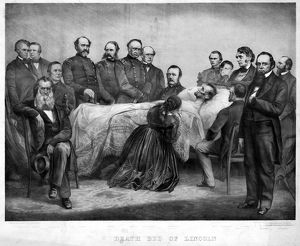 presidents/death lincoln 1865 death bed lincoln lithograph