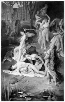 DEATH OF ORPHEUS. Orpheus and the Bacchantes. Oil on canvas by Emile Levy (1826-1890)