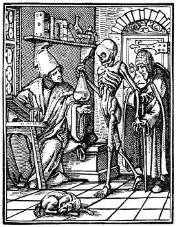 'Death and the Physician.' Woodcut by Hans Lützelburger after Hans Holbein the Younger