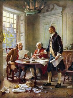 'The Declaration Committee.' Benjamin Franklin, John Adams, and Thomas Jefferson
