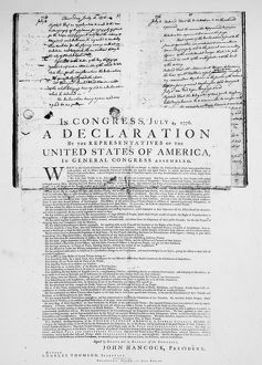 DECLARATION OF INDEPENDENCE The first printing of the Declaration of Independence
