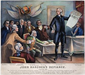 DECLARATION OF INDEPENDENCE. 'John Hancock's Defiance.' Lithograph, 1876