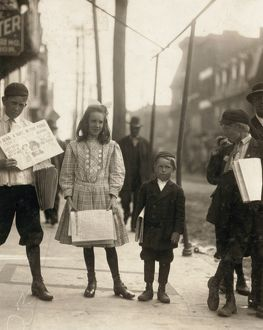 occupations/delaware newsboys 1910 girls boys selling papers