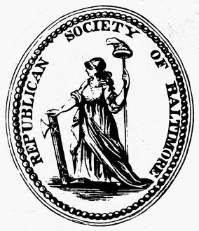 DEMOCRATIC-REPUBLICAN PARTY. Label for the Democratic-Republican Party, 1790