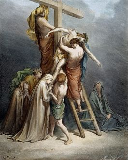 The Descent of Jesus from the Cross by Joseph of Arimathaea (Mark 15: 43, 46)