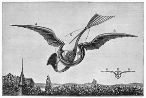 Diagram of Gustave Trouve's ornithopter, which was powered by an internal combustion engine