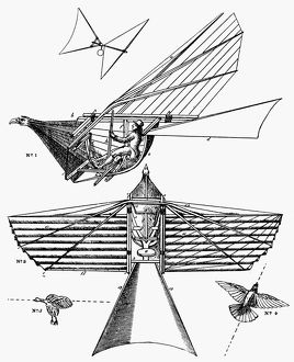 Diagram of Thomas Walker's ornithopter.