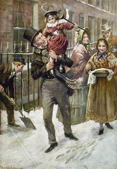 DICKENS: A CHRISTMAS CAROL. Bob Cratchit and Tiny Tim. Illustration by Harold Cropping from a 1920 edition of Charles Dickens' 'A Christmas Carol.'