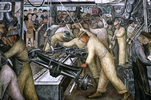 DIEGO RIVERA: DETROIT. Detail from Diego Rivera's mural depicting the American