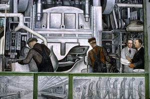 DIEGO RIVERA: DETROIT. Edsel B. Ford, extreme right, and William Valentiner in a