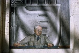 DIEGO RIVERA: HENRY FORD. Detail from Diego Rivera's mural depicting the American
