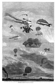 'Different Systems of Sailing in the Air.' Featuring the inventions of: 1