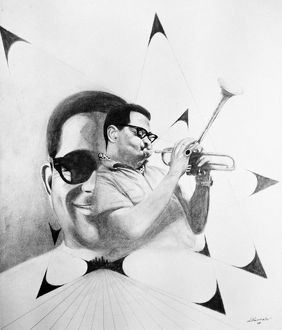 DIZZY GILLESPIE (1917-1993). American musician. Drawing, 1969.