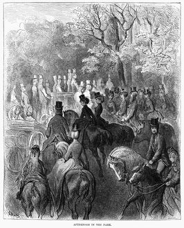 DORE: LONDON, 1872. 'Afternoon in the Park.' Wood engraving after Gustave Dore