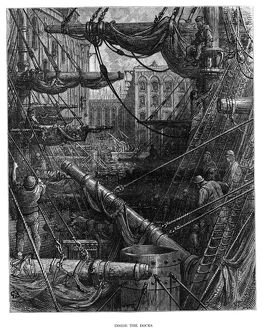DORE: LONDON, 1872. 'Inside the Docks.' Wood engraving after Gustave Dore,