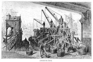 DORE: LONDON, 1872. 'Limehouse Dock.' Wood engraving after Gustave Dore