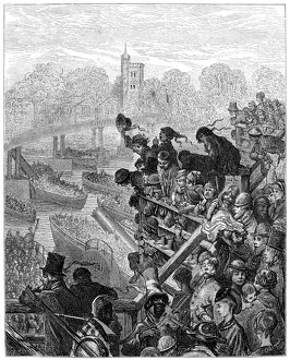 DORE: LONDON: 1872. 'Putney Bridge - The Return.' A boat race on the Thames River