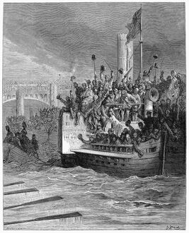 DORE: LONDON: 1872. 'The Race.' A boat race on the Thames River