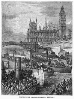 DORE: LONDON: 1872. 'Westminster Stairs - Steamers Leaving