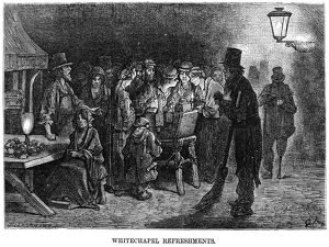 DORE: LONDON, 1872. 'Whitechapel Refreshments.' Wood engraving after Gustave Dore