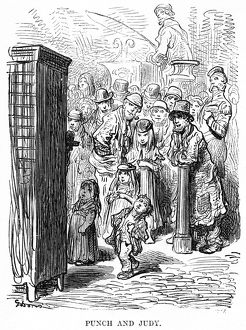 DORE: LONDON: 1873. Spectators watching a 'Punch and Judy' puppet show in London