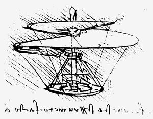 Drawing, c1486-90, of a helical-screw helicopter.