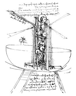 Drawing, c1486-90, of a standing ornithopter