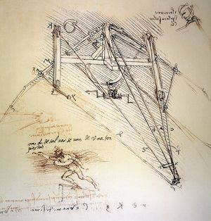Drawings by Leonardo da Vinci of an ornithopter with pilot, and a life-preserver.