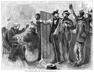 DRINKING, 1874. 'Like Father Like Son.' Men drinking and gambling in a saloon