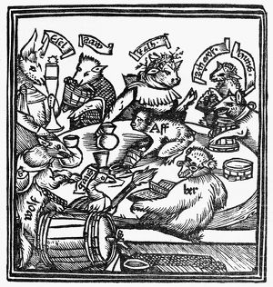 DRINKING PARTY, 1516. Satirical woodcut of a drinking party, referring to a legend