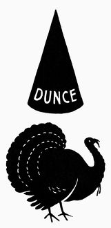 Dunce cap and turkey, symbols of failure