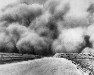 DUST BOWL, 1935. A dust storm in Oklahoma. Photograph, 1935.