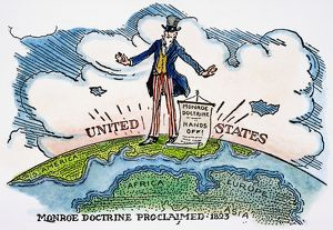 An early 20th century American cartoon on the Monroe Doctrine, proclaimed by President