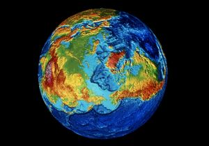 EARTH: TOPOGRAPHY. Digital image of the topography of the Earth, showing land