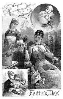 EASTER, 1884. Scenes from Easter Day. Engraving, American, 1884