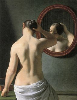 ECKERSBERG: NUDE, c1837. /n'Woman Standing in Front of a Mirror.' Oil on canvas