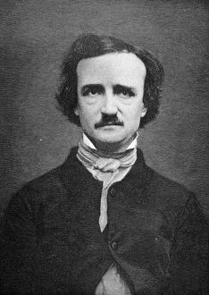 EDGAR ALLAN POE (1809-1849). American writer. Wood engraving, 19th century, by Timothy Cole after a daguerreotype of 1848.