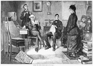 EDUCATION, 1877. 'Before the school board.' Engraving after a drawing by E