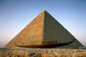 EGYPT: CHEOPS PYRAMID. A view of the Great Pyramid of Cheops in Giza, Egypt, with